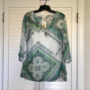 Adiva Blouse Tunic Sheer w/ Cami V-Neck 3/4 Sleeve